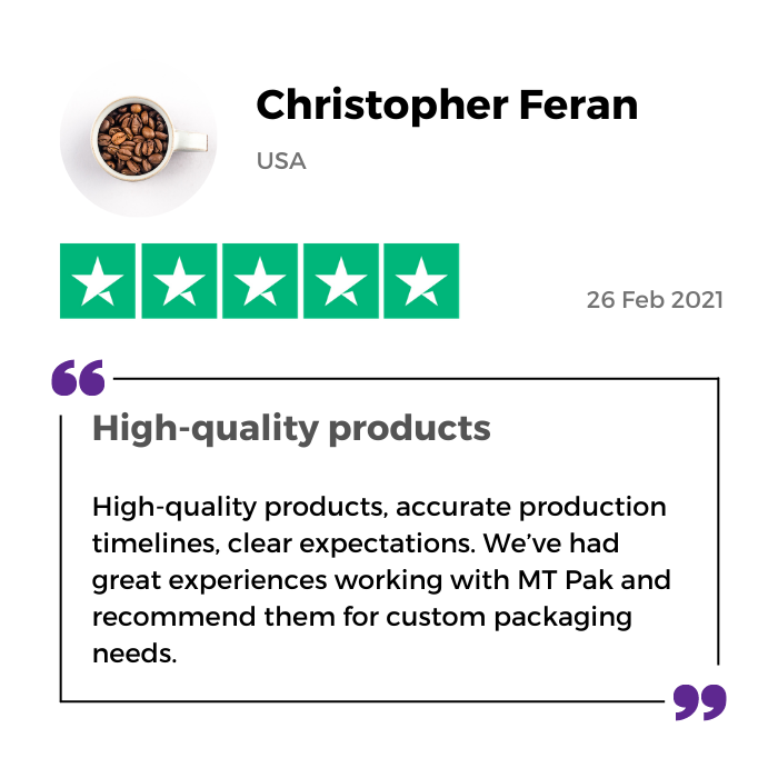 Christopher Feran review of MTPak Coffee on Trustpilot